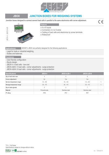 JBOX : JUNCTION BOXES FOR WEIGHING SYSTEMS