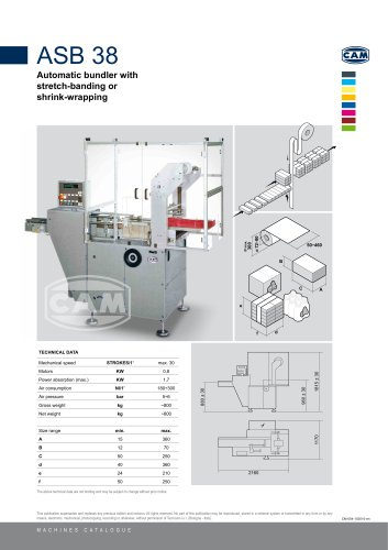 ASB38 automatic bundler with stretch-banding or shrink wrapping