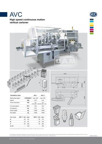AVC continuous motion vertical cartoner