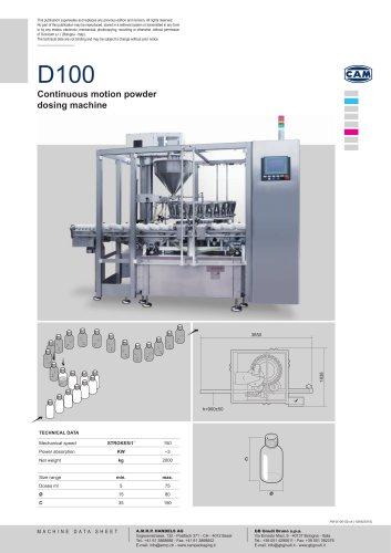 D100 | Continuous motion powder dosing machine