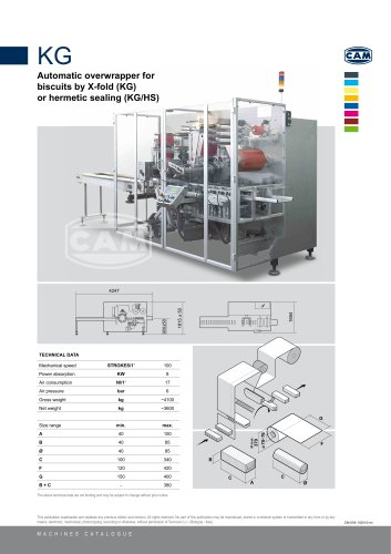 KG automatic overwrapper for biscuits by X-fold or hermetic sealing