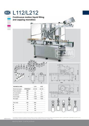 L112/L212 continuous motion liquid filling/capping monobloc