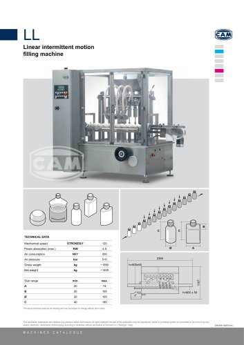 LL linear intermittent motion filling machine