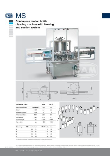 MS continuous motion bottle cleaning machine with blowing and suction system