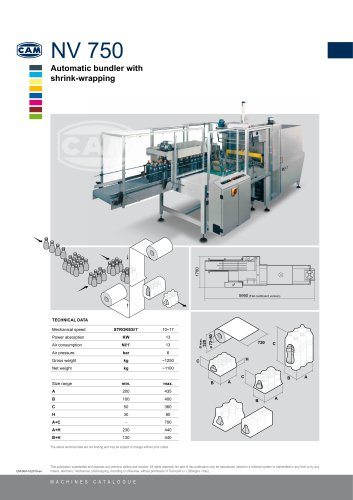 NV750 automatic bundler with shrink wrapping