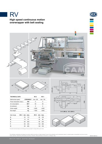 RV continuous motion overwrapper with belt sealing