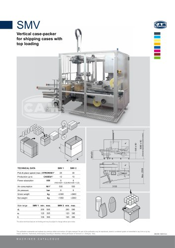 SMV vertical case packer for shipping cases with top loading