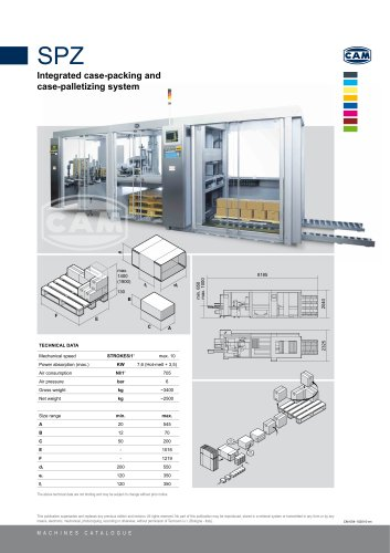 SPZ integrated case packing and case palletizing system