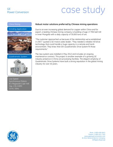 Robust motor solutions preferred by Chinese mining operations