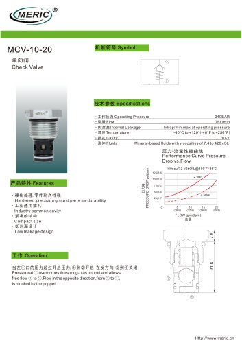 Cartridge check valve MCV-10-20