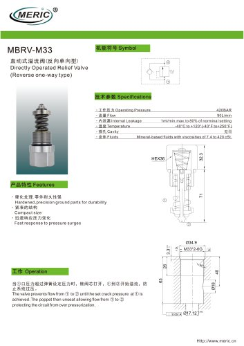 Direct-operated relief valve MBRV-M33
