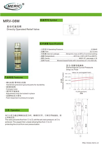 Direct-operated relief valve MRV-08M series