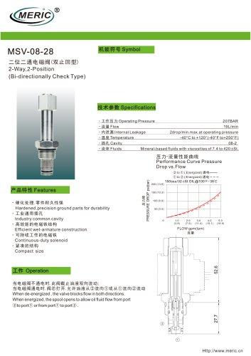 Spool hydraulic directional control valve MSV-08-28