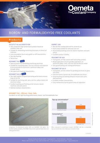 Boron- and formaldehyde-free coolants