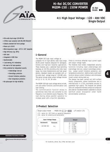 DC/DC Module Datasheet 150 Watts high input Series
