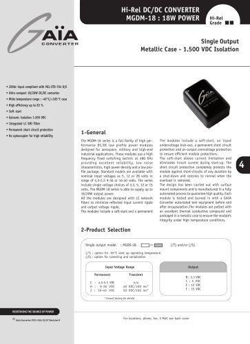 DC/DC Module Datasheet 18 Watts Series