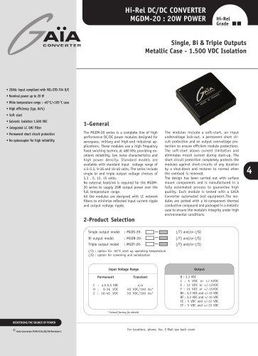 DC/DC Module Datasheet 20 Watts Series