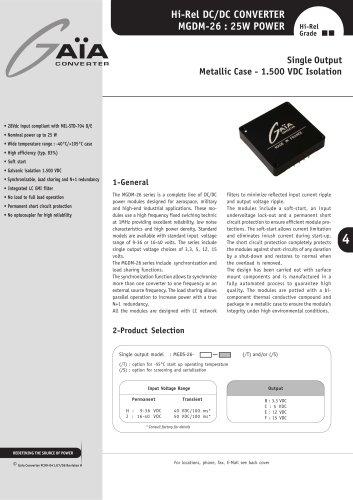 DC/DC Module Datasheet 26 Watts Series