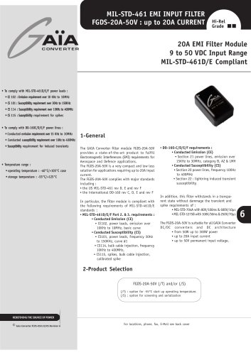 Front-End Module Datasheets - EMI filter up to 300 W