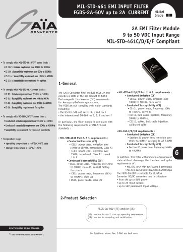 Front-End Module Datasheets - EMI filter up to 50 W