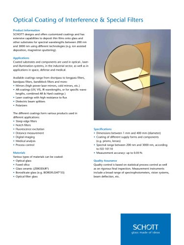 Optical Coating of Interference & Special Filters