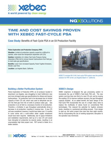 TIME AND COST SAVINGS PROVEN WITH XEBEC FAST-CYCLE PSA