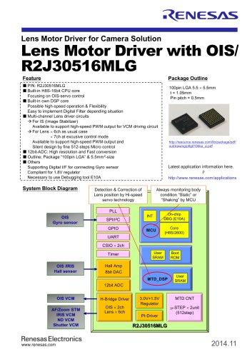 Lens Motor Driver for Camera Solution Lens Motor Driver with OIS/ R2J30516MLG