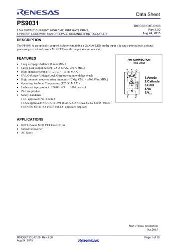 PS9031  2.5 A OUTPUT CURRENT, HIGH CMR, IGBT GATE DRIVE