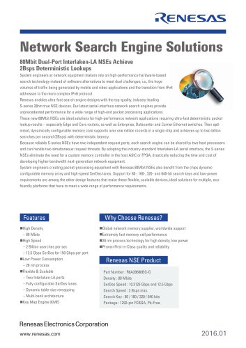 Renesas Network Search Engine Solutions