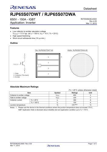 RJP65S07DWT/RJP65S07DWA Data Sheet (650V - 150A - IGBT / Application: Inverter)