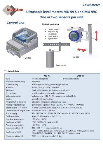 Ultrasonic level meters MU 99 S and MU 99C