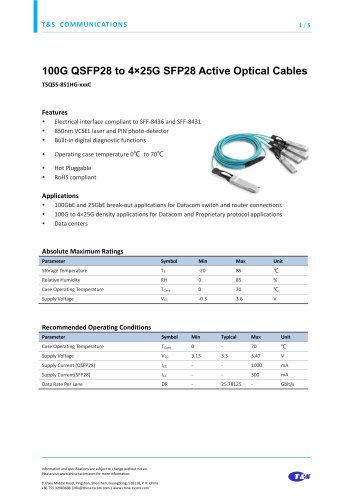 100G QSFP28 to 4×25G SFP28 Active Optical Cables
