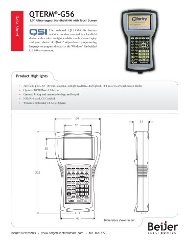 Cost-effective QTERM-G56 tethered graphic handheld HMI datasheet