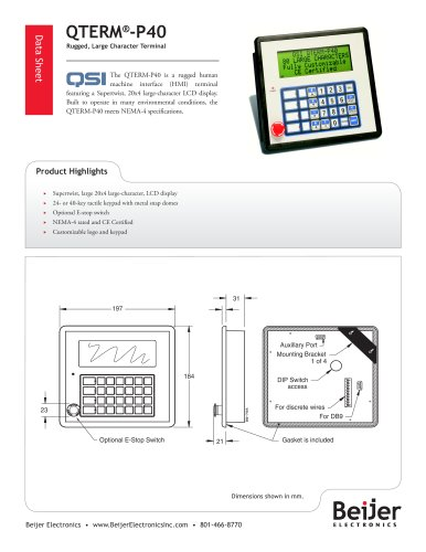 Large display QTERM-P40 character terminal data sheet