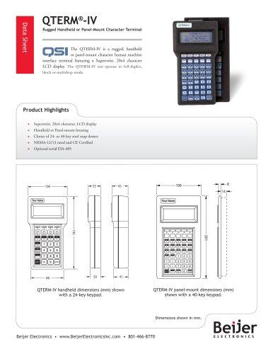 Rugged QTERM-IV character terminal data sheet