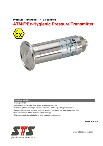 ATM/F/Ex Hygienic Pressure Transmitter ATEX