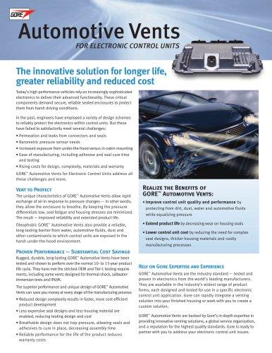 Automotive Vents for Electronic Control Units