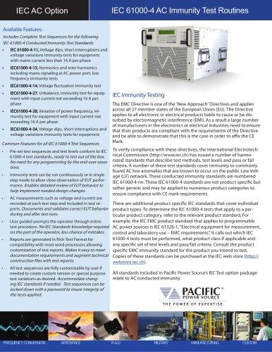 IEC 61000-4 AC Immunity Test Routines (IEC AC Option)