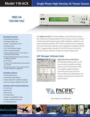 Model 118-ACX: Single Phase High Density AC Power Source (1800 VA)