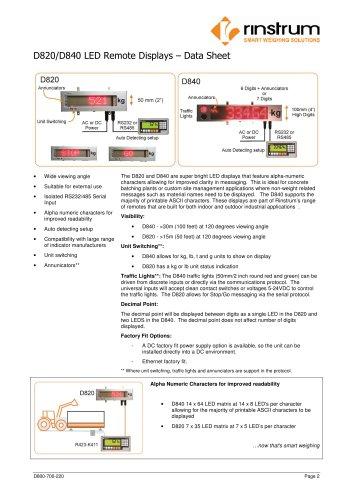D820/D840 LED Remote Displays