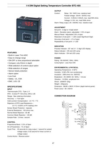 Digital Temperature Controller BTC-405