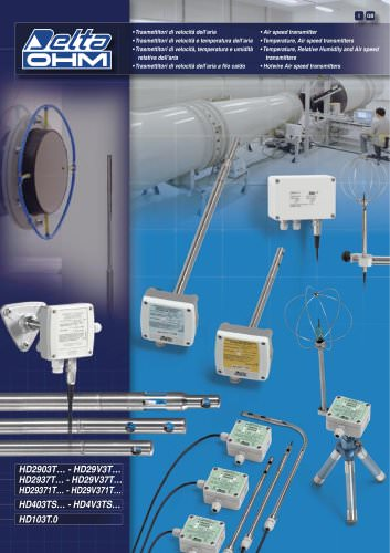 Temperature, Relative Humidity and Air speed transmitters