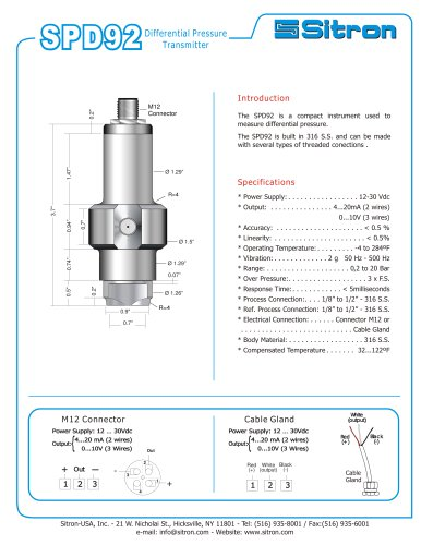 Sitron's Differential Pressure Transmitter