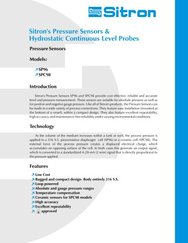 Sitron's Line Of Pressure Sensors and Hydrostatic Level Transmitters
