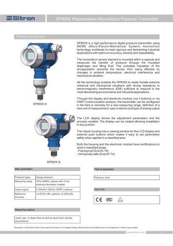 SP900X Piezoresistive Monosilicon Pressure Transmitter