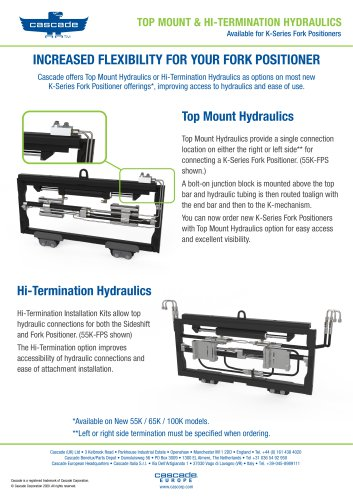 TOP MOUNT & HI-TERMINATION HYDRAULICS Available for K-Series Fork Positioners
