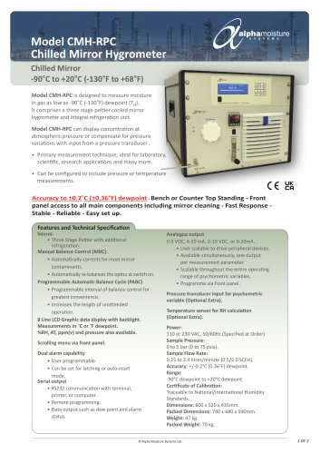Model CMH-RPC Chilled Mirror Dewpoint Hygrometer