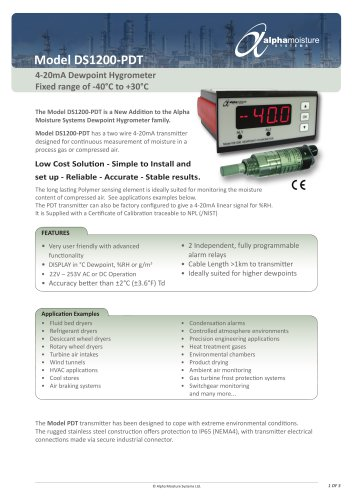 Model DS1200-PDT Low Cost Online Dewpoint Hygrometer