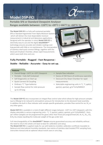 Model DSP-FCI SF6 Portable Dewpoint Analizer