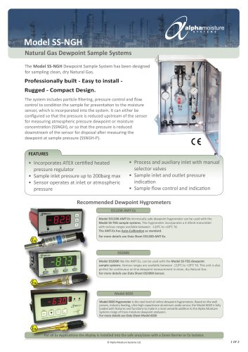 Model SS-NGH Dewpoint Sample System for Natural Gas